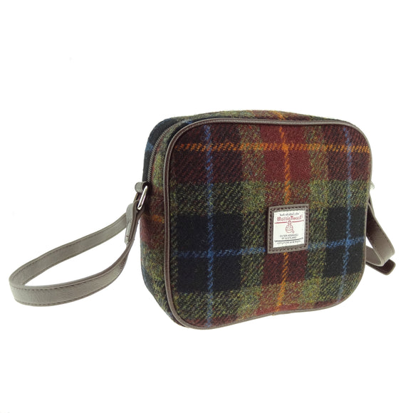 Glen Appin Of Scotland Harris Tweed 'Rust' Brown Green Blue Tartan Check Mini Handbag Purse