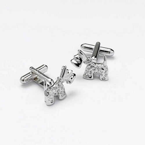 Onyx Art London Swarovski Crystal Terrier Dog Puppy Mens T-Bar Cufflinks
