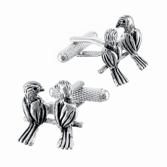 Onyx Art London Silver Love Birds Mens T-Bar Cufflinks