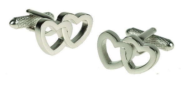 Onyx Art London Silver Interlocking Love Heart Mens T-Bar Cufflinks