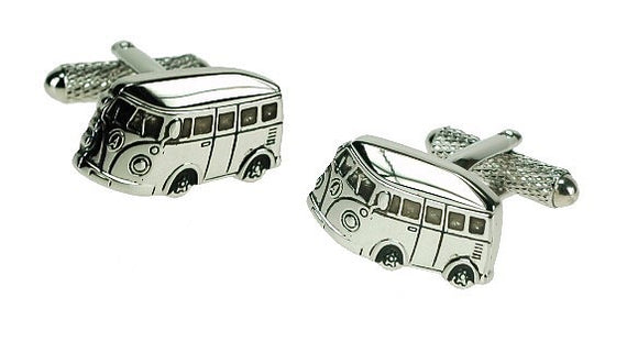 Onyx Art London Classic Silver Camper Van Mens T-Bar Cufflinks
