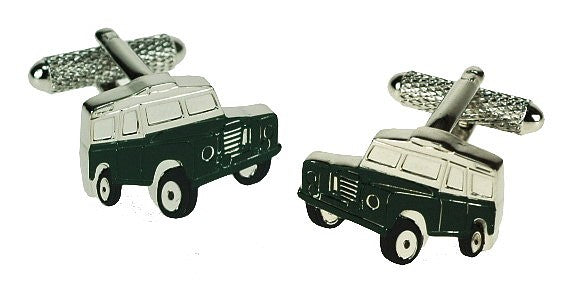 Onyx Art London Classic Green Landrover Jeep Mens T-Bar Cufflinks
