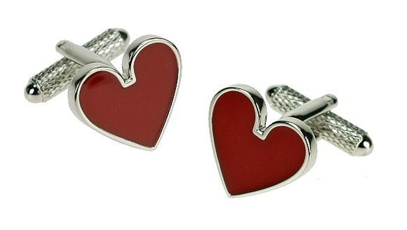 Onyx Art London Classic Red Love Heart Mens T-Bar Cufflinks
