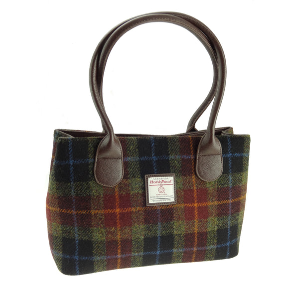 Glen Appin Of Scotland Harris Tweed 'Cassley' Classic 'Rust' Brown Blue Green Ladies Tote Grab Handbag Purse