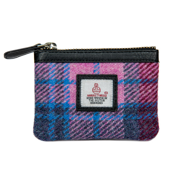 Maccessori Pastel Pink Purple Blue Tartan Check Harris Tweed Coin Pocket Purse Wallet