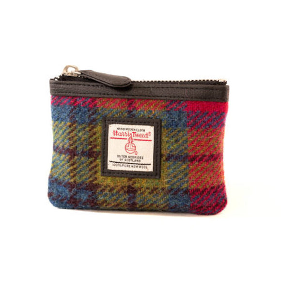 Maccessori Pink Blue Green Tartan Check Harris Tweed Coin Pocket Purse Wallet