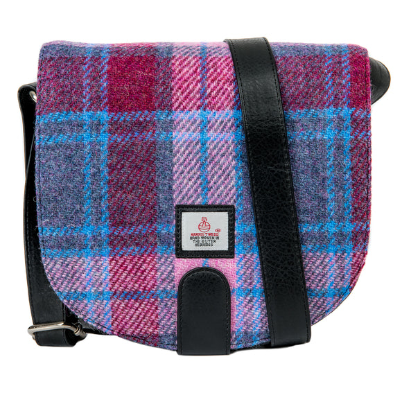Maccessori Pastel Pink Blue Purple Tartan Check Harris Tweed Cross Body