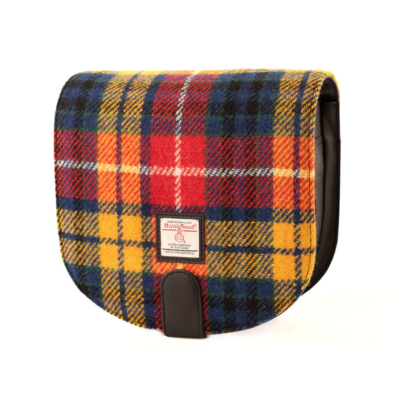 Maccessori Red Yellow Blue Tartan Check Harris Tweed Cross Body