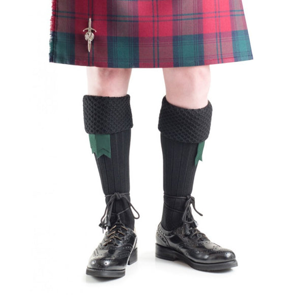 Brilliant Black Quality Bubble Honeycomb Top Piper / Pipeband Hose Kilt Socks