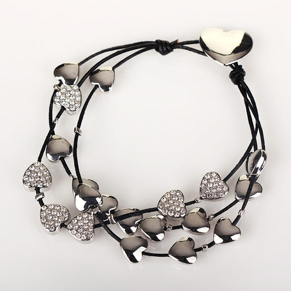 Equilibrium Silver Plated Black Leather Cubic Zirconia Love Heart Multi Wrap Bracelet