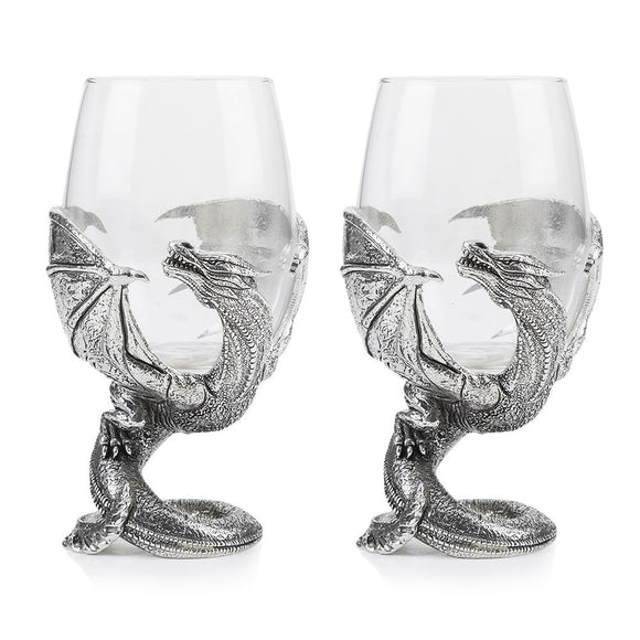 Stunning Pewter Wrapped Dragon Wine Glass Pair