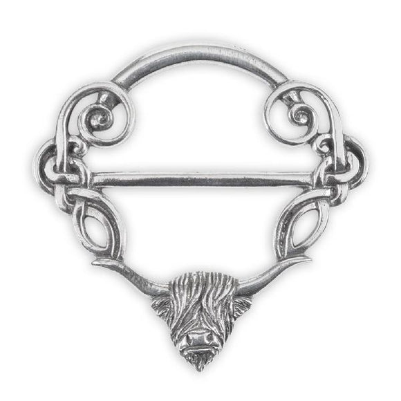 Stunning Pewter Scottish Highland Cow Coo & Celtic Knot Interlace Scarf Sash Ring