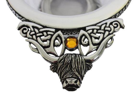 Stunning Pewter & Glass Scottish Highland Cow Coo Toasting Celebration Quaich With Topaz Orange Stone Detailing