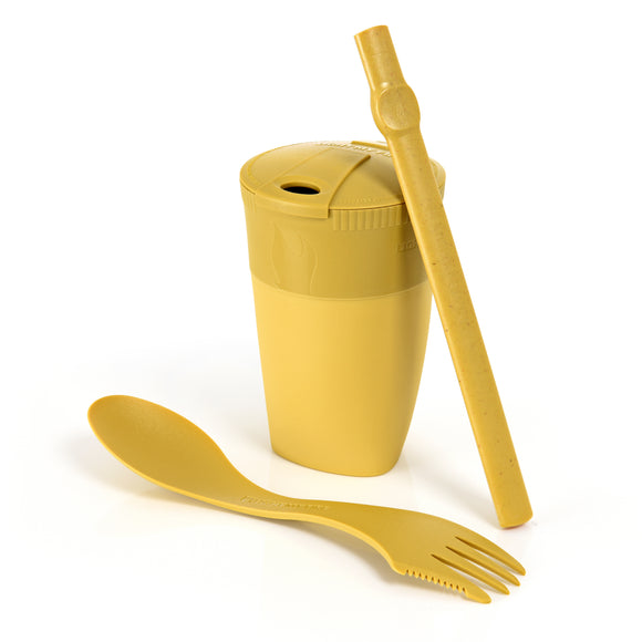 Light My Fire Bio Mustard Yellow Reusable Eco Friendly Straw Cup Spork Travel Camping Scout ReKit