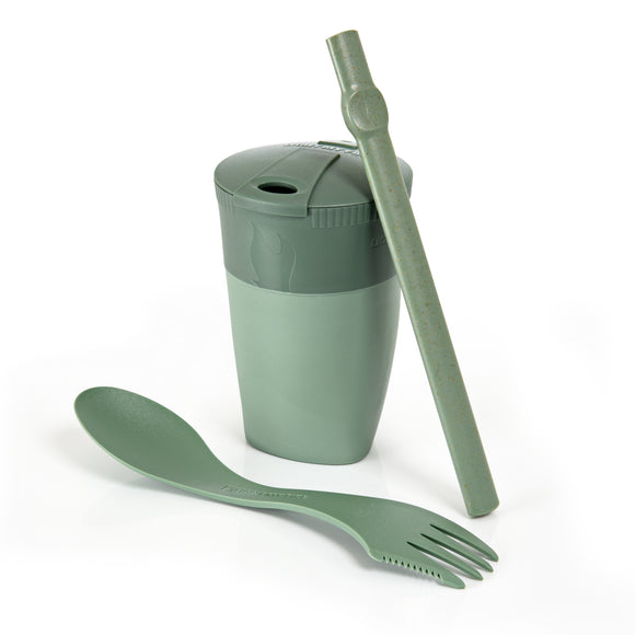 Light My Fire Bio Sandy Green Reusable Eco Friendly Straw Cup Spork Travel Camping Scout ReKit