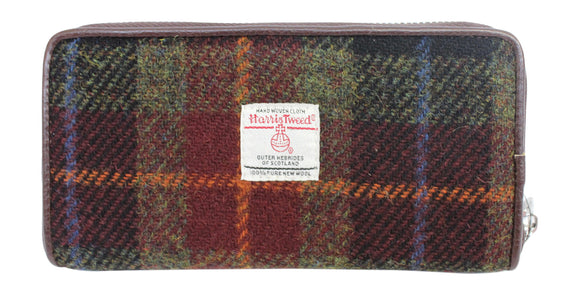 Glen Appin Of Scotland Rust Brown Green Blue Tartan Check Harris Tweed Ladies Staffa Zip Round Purse Wallet