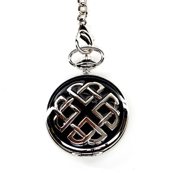Scottish Black Enamel Celtic Knot Quartz Half Hunter Fob Pocket Watch