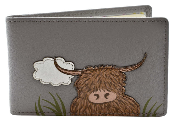Mala Leather Grey 'Bella' Scottish Highland Cow Coo  ID / Card Holder Wallet - RFID Protected