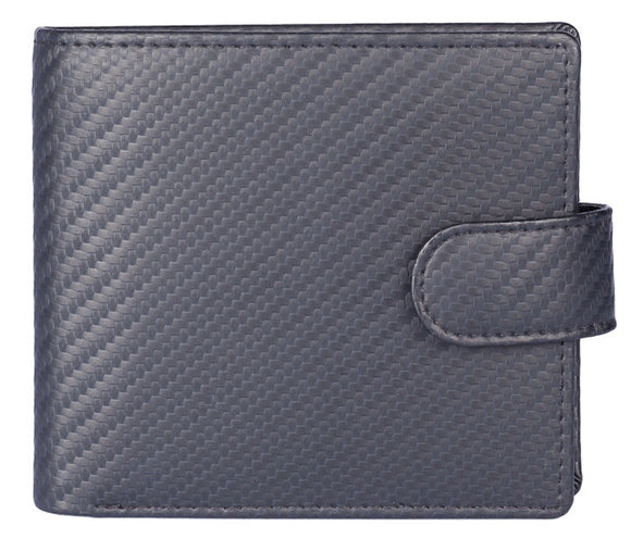Kalmin Leather Carbon Fibre Effect Classic Tab Wallet with RFID Protection