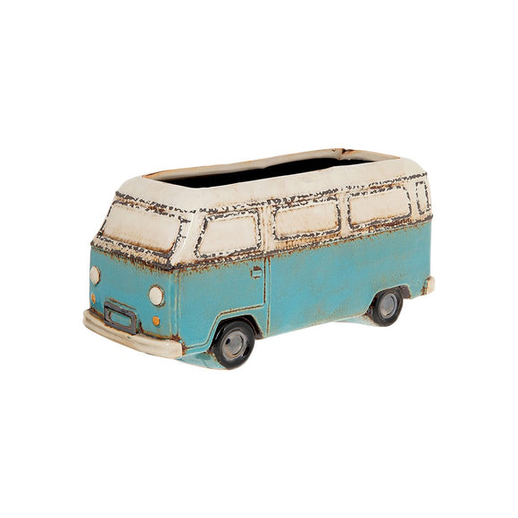 Village Pottery Ceramic Blue Retro Campervan Flower Pot Planter