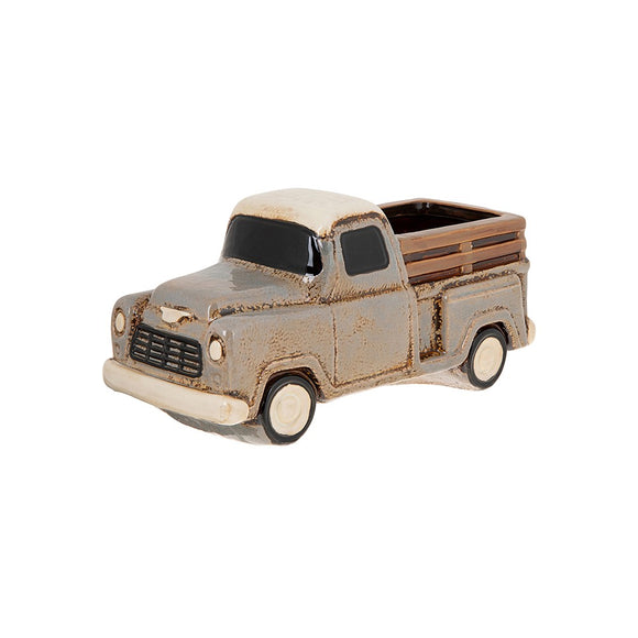 Village Pottery Ceramic Grey Truck Flower Pot Planter