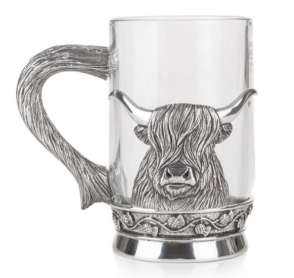 Stunning Pewter and Glass Pint Tankard featuring a Scottish Highland Cow Coo