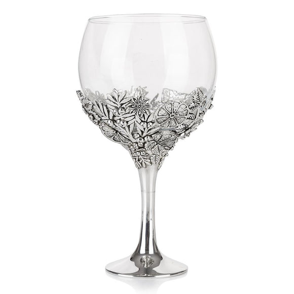 Stunning Pewter Gin Glass with Lemon and Orange Detailing