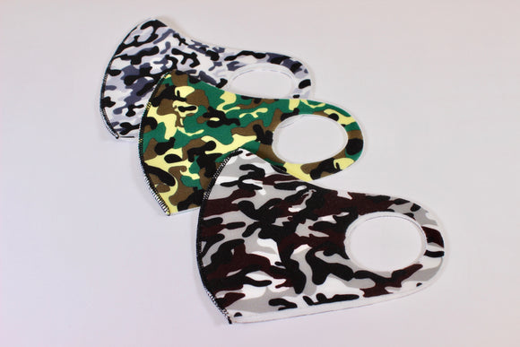 Childs Reuseable Elasticated Face Mask 3 pack. Unicorn Stardust or Camouflage