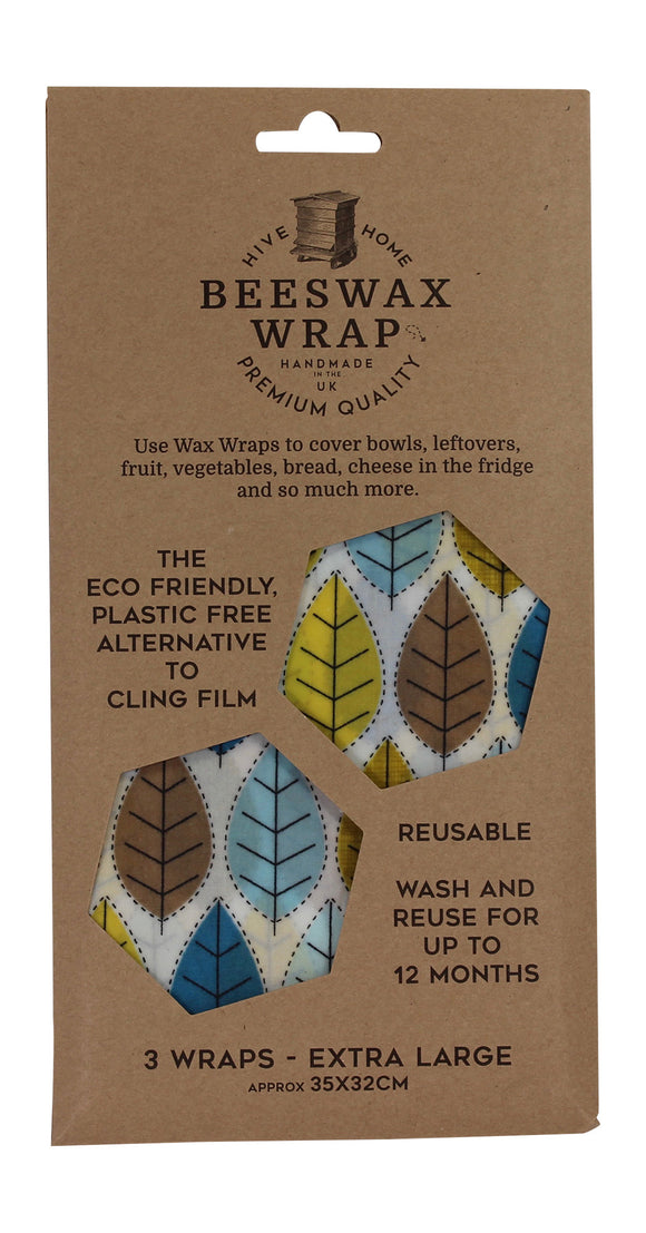 Hive To Home Eco Friendly Plastic Free Resuable Alternative To Cling Film Set of 3 Extra Large Beeswax Wraps
