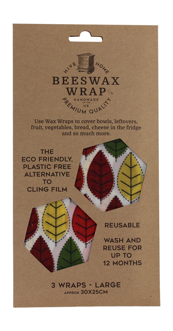 Hive To Home Eco Friendly Plastic Free Resuable Alternative To Cling Film Set of 3 Large Beeswax Wraps