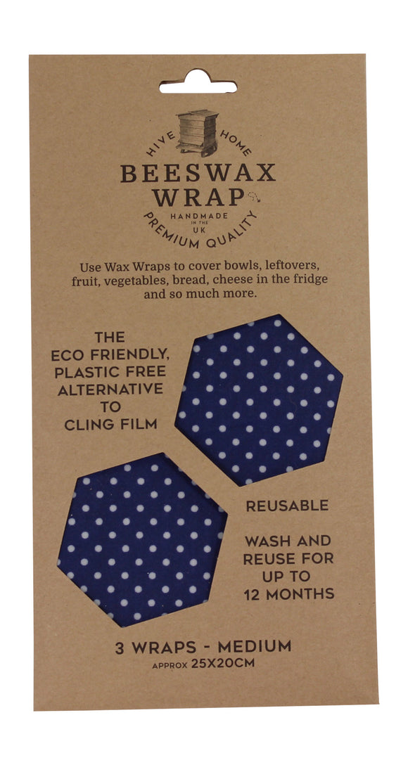 Hive To Home Eco Friendly Plastic Free Resuable Alternative To Cling Film Set of 3 Medium Size Beeswax Wraps