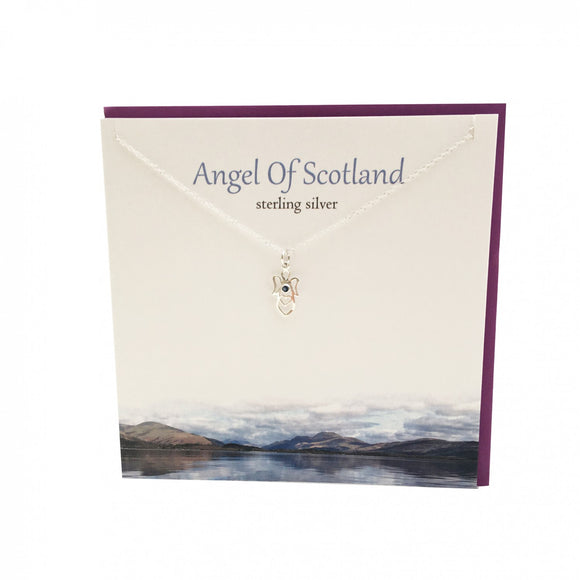 The Silver Studio Scotland Scottish Angel of Scotland Sapphire Gem Stud Earrings Card & Gift Set