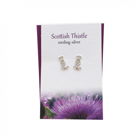 The Silver Studio Scotland Scottish Thistle Stud Earrings Card & Gift Set
