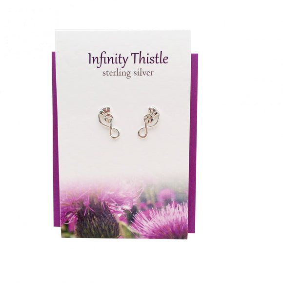 The Silver Studio Scotland Scottish Infinity Thistle Stud Earrings Card & Gift Set