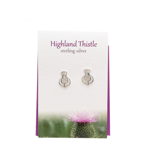 The Silver Studio Scotland Scottish Highland Thistle Stud Earrings Card & Gift Set