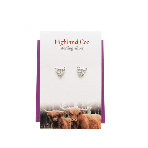 The Silver Studio Scotland Scottish Highland Cow Coo Stud Earrings Card & Gift Set