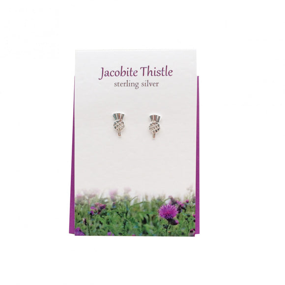The Silver Studio Scotland Scottish Jacobite Thistle Stud Earrings Card & Gift Set