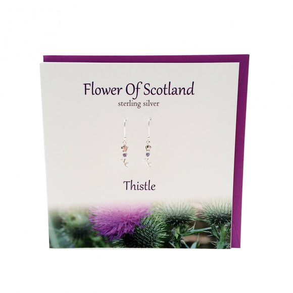 The Silver Studio Scotland Scottish Flower Of Scotland Amethyst Stone Dangle Drop Earrings Card & Gift Set