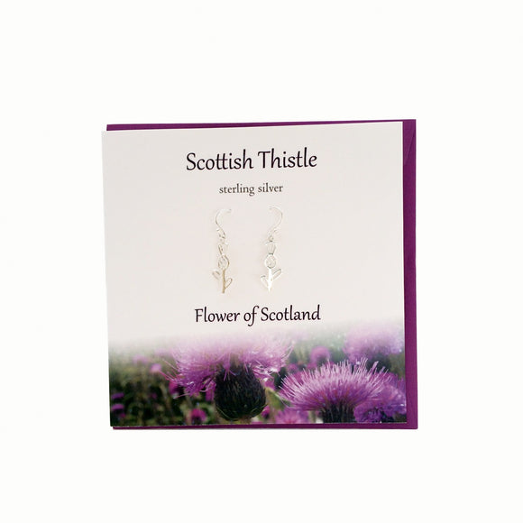 The Silver Studio Scotland Scottish Thistle Dangle Drop Earrings Card & Gift Set