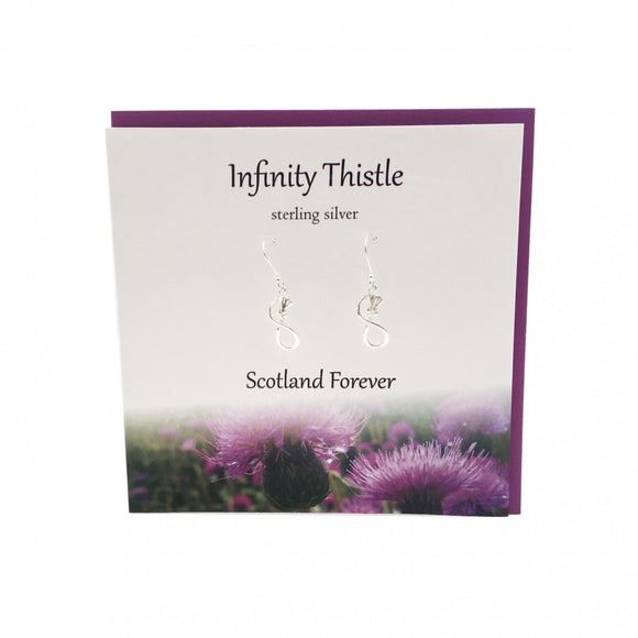 The Silver Studio Scotland Infinity Thistle Dangle Drop Earrings Card & Gift Set