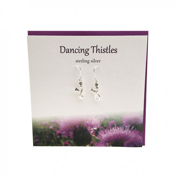 The Silver Studio Scotland Dancing Infinity Thistle Dangle Drop Earrings Card & Gift Set