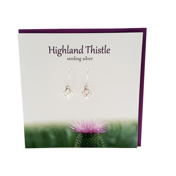 The Silver Studio Scotland Highland Thistle Dangle Drop Earrings Card & Gift Set