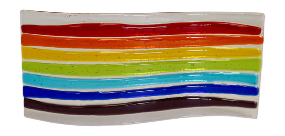 Jules Jules Hand Crafted Colourful Rainbow Fused Glass Wave Panel