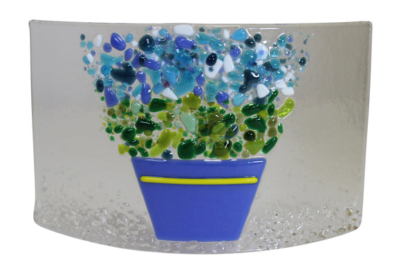 Jules Jules Hand Crafted Colourful Flower Bouquet Fused Glass Arc Panel