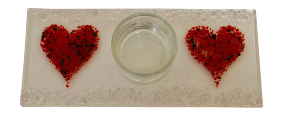 Jules Jules Hand Crafted Red Love Heart Fused Glass Rectangle Candle Tealight Holder Stand