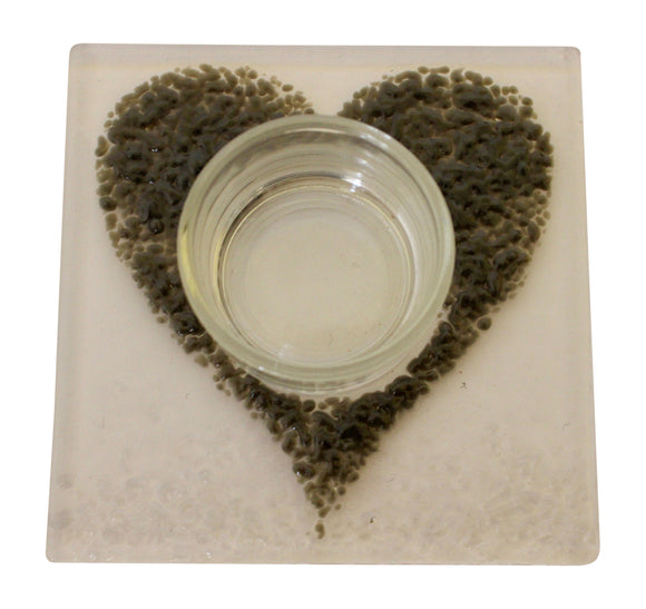 Jules Jules Hand Crafted Grey Love Heart Fused Glass Square Candle Tealight Holder Stand