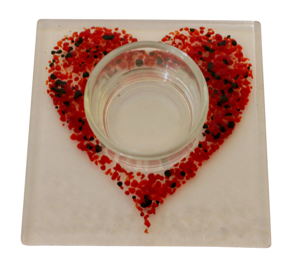 Jules Jules Hand Crafted Red Love Heart Fused Glass Square Candle Tealight Holder Stand