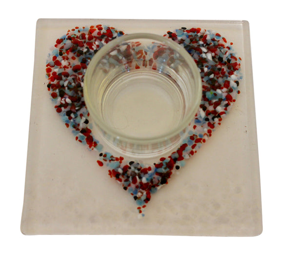 Jules Jules Hand Crafted Multi Colour Love Heart Fused Glass Square Candle Tealight Holder Stand