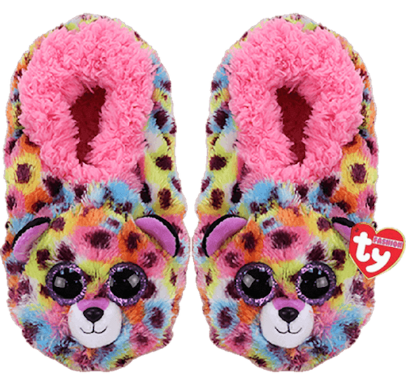 TY Beanie Babies GISELLE the LEOPARD Soft Plush Slippers