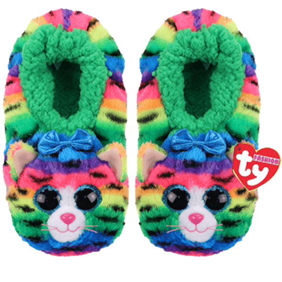 TY Beanie Babies TIGERLY the CAT Soft Plush Slippers